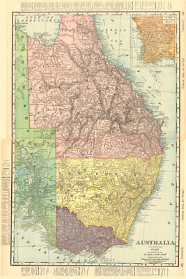 Eastern AUSTRALIA. Queensland Victoria New South Wales. RAND MCNALLY 1906 map