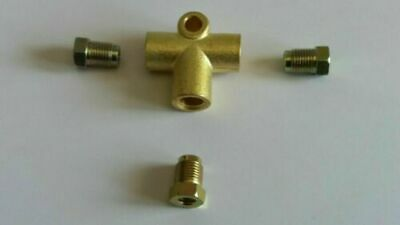 "Brass Brake Pipe Fitting Female 3 Way T-piece 10mm x 1mm For 3//16/"" Brake Pipe"