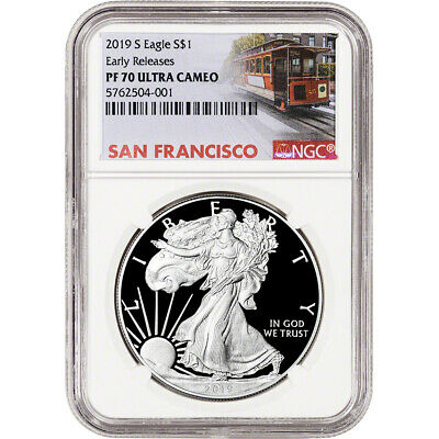 2019-S American Silver Eagle Proof - NGC PF70 UCAM - Early Releases - SF Label