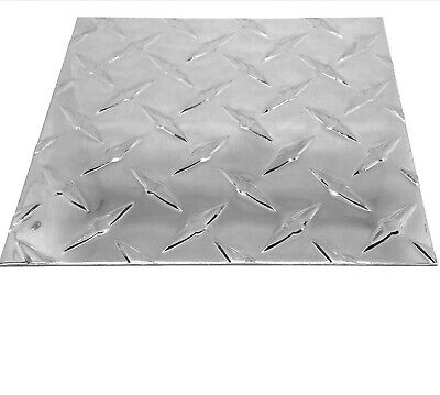 "Aluminum Diamond Plate Tread -Brite  12"" x 12"" 3003 .063 Chrome - Polish"
