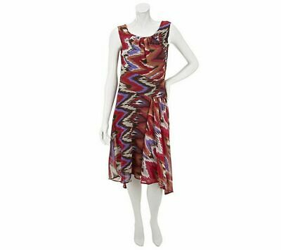 M by Marc Bouwer Fuchsia Mod Paisley Print Asymmetrical Hem Dress 3X
