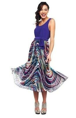 M by Marc Bouwer Purple Sleeveless Midi Mod Print Pleated Dress XS