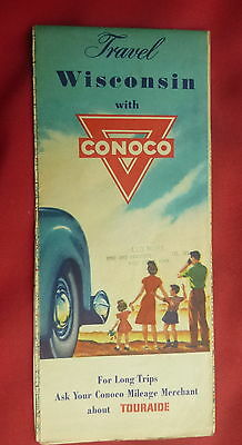1947 Wisconsin   road  map Conoco   oil gas Milwaukee