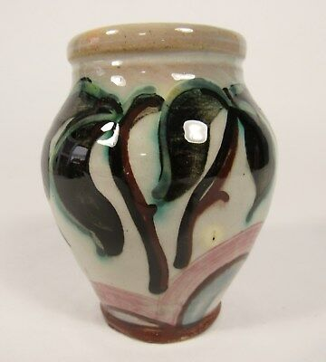 Vintage GERMANY German Cream PalmTrees Art Pottery Cabinet Vase