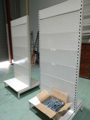 2 x Shop Display Double Sided Gondola Free Standing Units with Approx 100 Hooks
