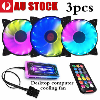 3 Pack RGB LED Quiet Computer Case PC Cooling Fan 120mm & One Remote Control HOT