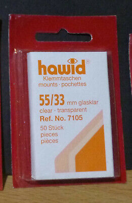 HAWID STAMP MOUNTS CLEAR Pack of 50 Individual 55mm x 33mm - Ref. No. 7105