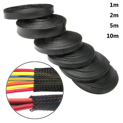 5/10M Black Braided Cable Sleeve Sheathing Auto Wire Harnessing Marine Electrics