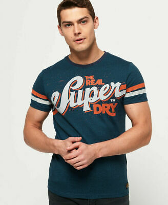 New Mens Superdry Heritage Classic T-Shirt Teal Grit