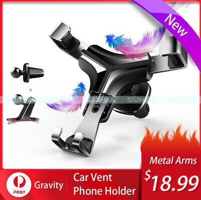 Car Phone Holder Universal Gravity Air Vent Mount Clamping Cradle For iPhone