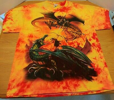 Orange Yellow Red 2XL The Mountain Unisex The Duel Dragon T Shirt