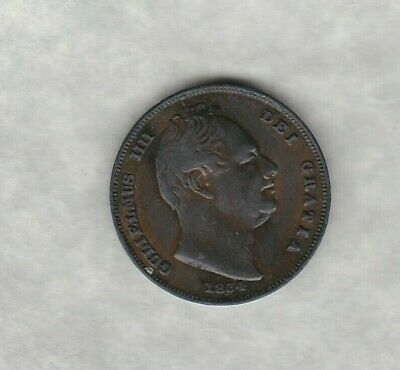 1834 William Iv Copper Farthing In Good Very Fine Condition