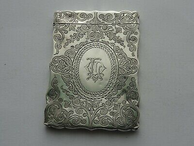 ANTIQUE VICTORIAN ENGLISH STERLING SILVER CARD CASE, H&T BIRMINGHAM c1879