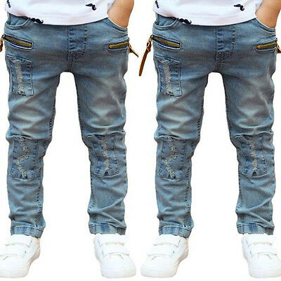 Kids Boys Toddler Stars Casual Harem Pants Stretch Denim Jeans Trousers 3-11Y KN