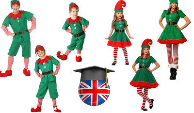 Adult Kids Christmas Elf Costume Fancy Dress Party Family Christmas Role Playing