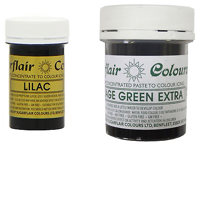 Sugarflair Paste Gel Edible Food Colouring Colours Icing - Lilac & Foliage Green