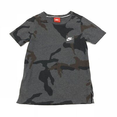 NIKE GRAY & Blue Camouflage Therma Fit Hooded Sweatshirt