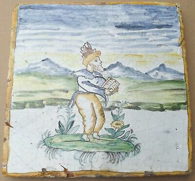 Antique Convent Keramika Wall Tile 50x50x 6cm from Ischia - Restoration Object