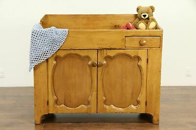 Country Pine Kitchen Pantry Antique 1850 Dry Sink Cabinet #31917