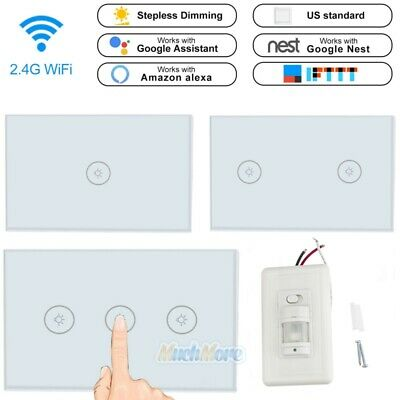3 Gang Smart LED Light Timer WiFi Wall Touch Switch Work with Alexa Google Home