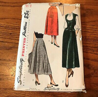 1940-50's Simplicity Misses' Printed Skirt Weskit Pattern 2757 Sz 18 Bust 36""