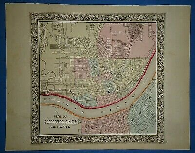 Vintage 1861 CINCINNATI, OHIO MAP Old Antique Original Atlas Map