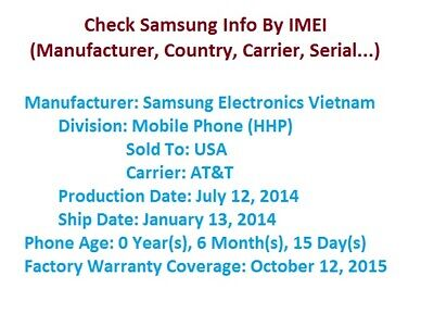SAMSUNG FULL IMEI INFO CHECK (manufacturer, country, carrier) - Instant Reply