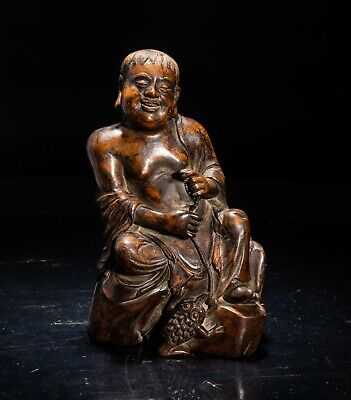 19th Chinese Antique Huanghuali Wood Carved Liuhai
