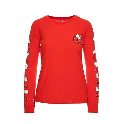 Converse X Hello Kitty Collection Premium Long Sleeve Shirt Red SZ S-L