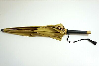 "Vintage Gold / Yellow Umbrella Parasol With Black And Brass Handle 25 1/2"" Long"