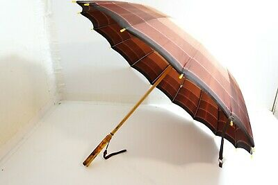 Vintage Nyu Co Brown Plaid Type Umbrella With Brown Swirl Lucite Handle 25 1/2""