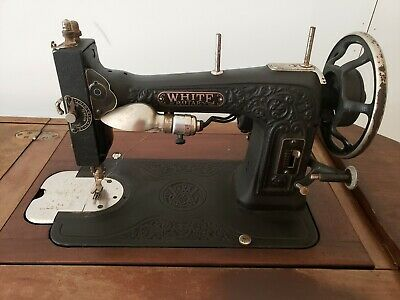 ANTIQUE WHITE ROTARY CO  TREADLE SEWING MACHINE w 6 Drawer