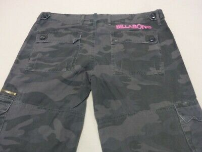 099 Womens Ex-Cond Billabong Relaxed Midnight Camo Cargo Pants Sze 12 $100 Rrp.