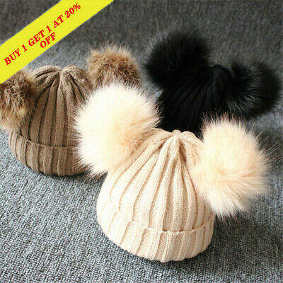 Baby Kids Girls Boys Winter Warm Knit Hat Pompom Warm Cute Lovely Beanie Cap