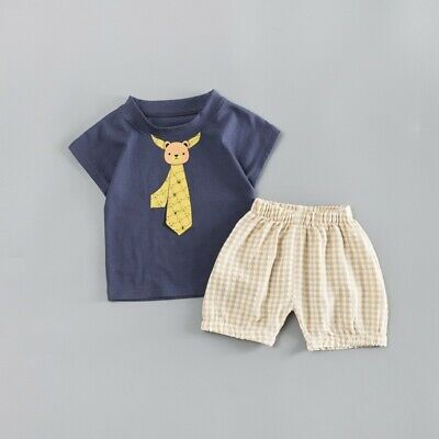 Baby Boys Toddler Summer Cartoon Tie Print T-shirt Tops+Shorts Casual Sets