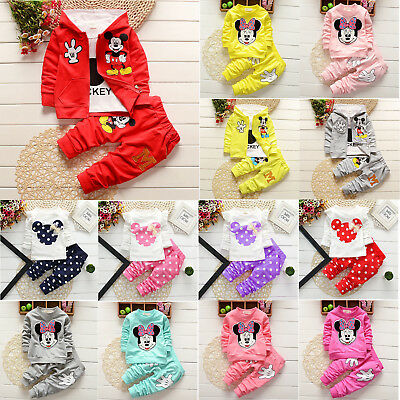 Kids Baby Boy Girl Cartoon Jacket Hoodie T-shirt Top Pants Casual Outfit Sets