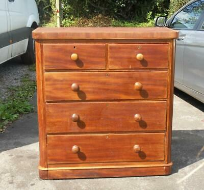 Antique Victorian Stripped Mahogany? & Pine Chest Of Drawers Local Delivery Av