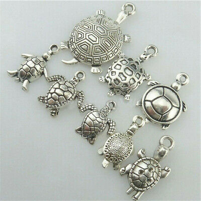 Newest Pretty Beads Alloy Turtle Pendant Antique Silver Crafts Charms Jewelry