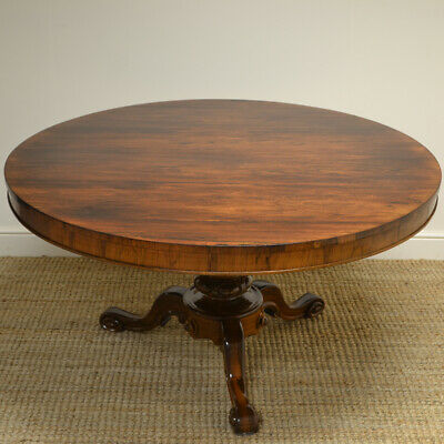Outstanding Large Circular Victorian Rosewood Antique Dining Table