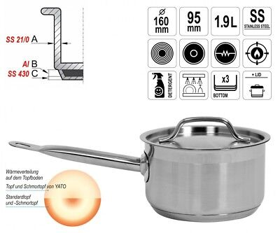 Gastronomy Quality Stainless Steel Saucepan Casserole with Lid 1,9L Induction