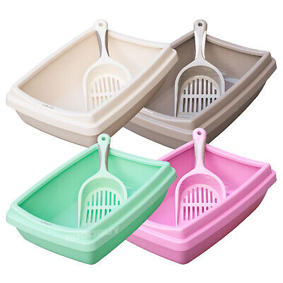 Large 11L Cat Litter Tray with Rim & Scoop Plastic Indoor Pet Sifter Scooper Box