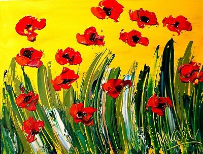 POPPIES RED  by Mark Kazav  Abstract Modern CANVAS Original Oil Painting NR
