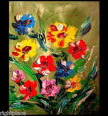 MODERN ABSTRACT WILD FLOWERS  ORIGINAL OIL Painting  IMPRESSIONISM  , Canada
