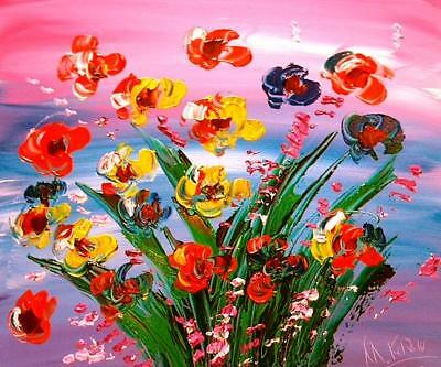Modern Abstract  Flowers   Painting Canvas Art Contemporary Signed  Kazav