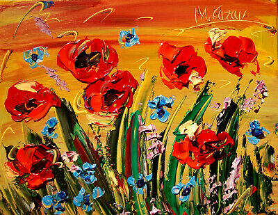 FLOWERS painting MOTHER DAY GIFT  Modern  Original Oil Abstract PALETTE KNIFE