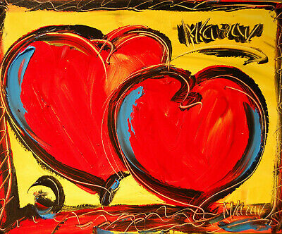TWO HEARTS  Abstract Modern Original Oil Painting  IMPASTO NO RESERVE FAST SHIPN