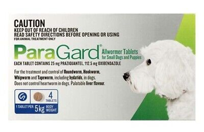 ParaGard Allwormer Tablets For Small Dogs and Puppies 5kg 4 Tablets