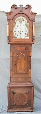 Antique English  Oak & Mahogany Moonphase Grandfather Longcase Clock