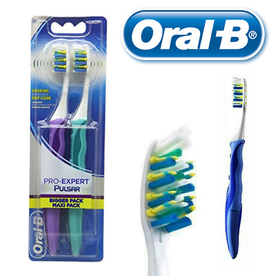 Oral-B Pro-Expert Pulsar Medium Vibrating Toothbrush Twin Pack - Assorted Colors