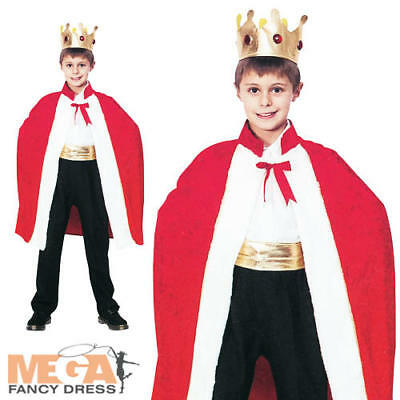 Cape Kids Red Gold Royal King Wise Man Christmas Nativity Fancy Dress Crown